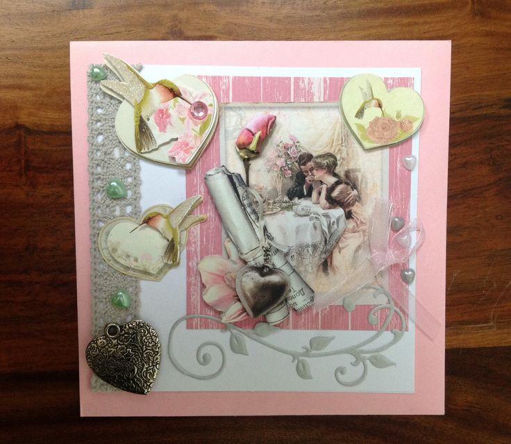 Carte félicitations mariage,faite main,3D,Vintage,fiançailles,couple,cœur ,rétro