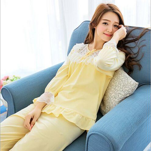 Autumn Girls Lace Pijama Suits cotton Pijama Feminino Knitted Cotton pajama Set pijamas mujer pijama entero adulto2260