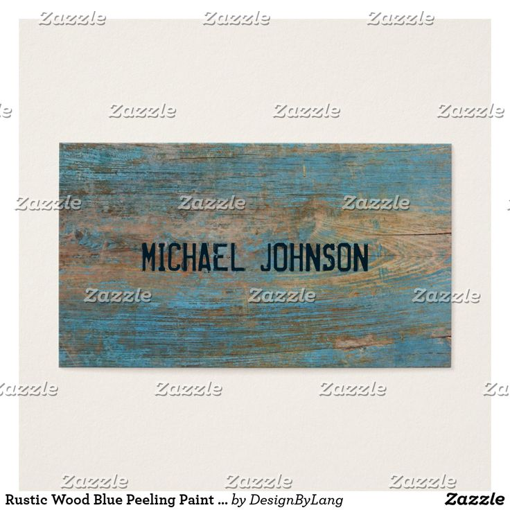 From Zazzle Rustic Wood Blue Peeling Paint Grunge Font Style Business Card