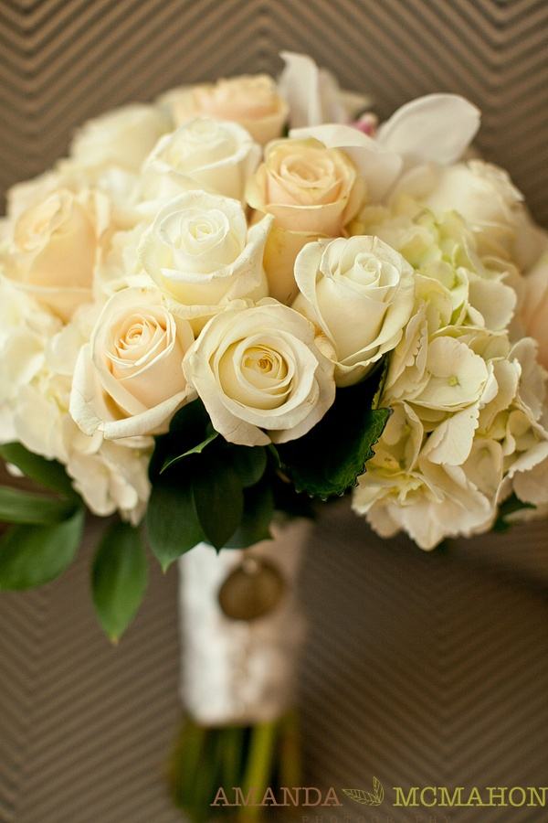 classic white rose wedding bouquet    -Amanda McMahon Photography  www.amandamcmahon.com