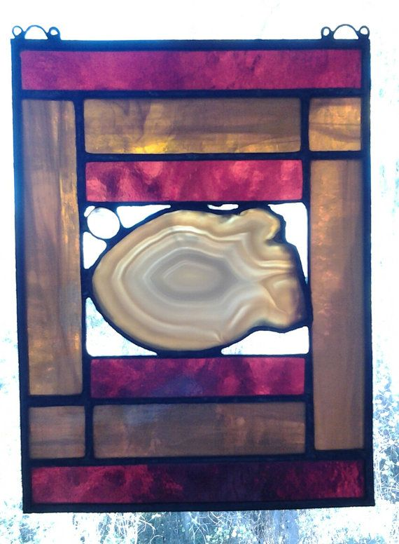 Stained Glass Panel Oregon Agate Reclaimed by LemonYellowGlass, $45.00