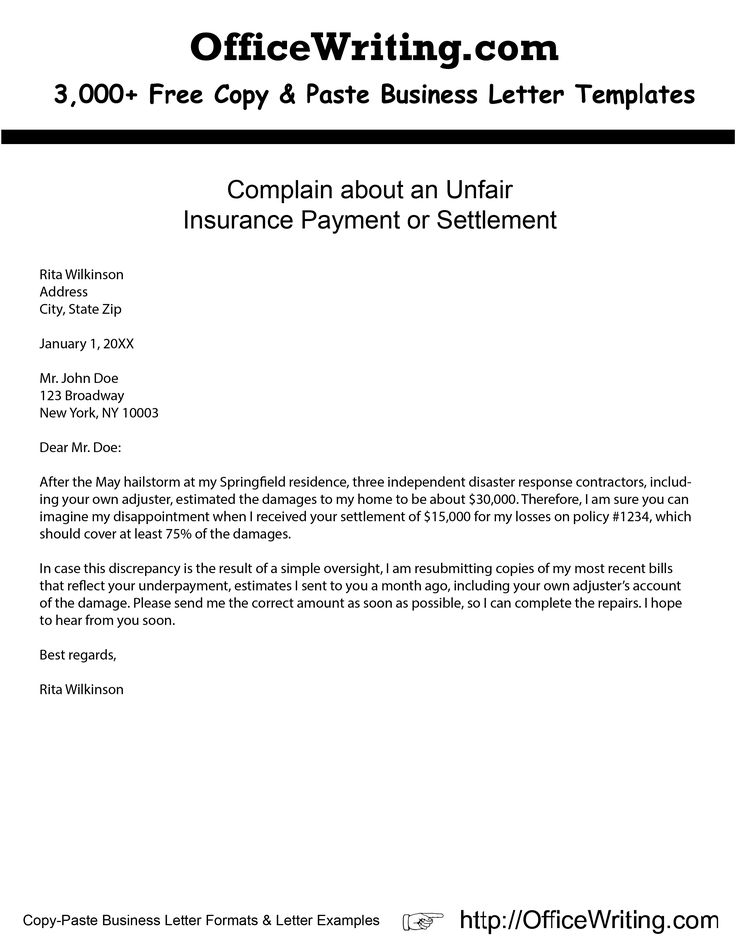 10 best complaint letters images on pinterest cover letter sample complain about an unfair insurance payment or settlement httpofficewriting letter templatestemplates spiritdancerdesigns Images
