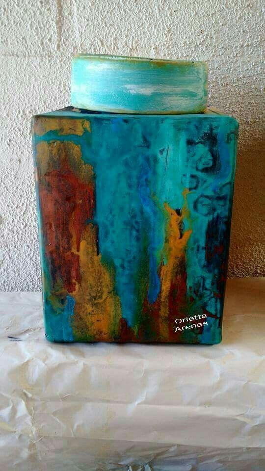 Aqua&Turquoise with gold tones.