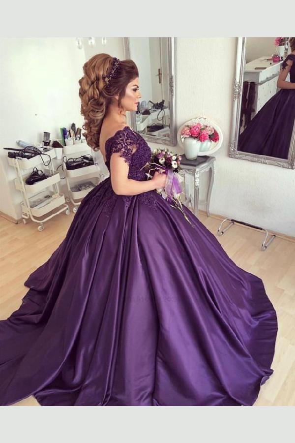 Delightful Wedding Dress Ball Gown Wedding Dress Purple Wedding