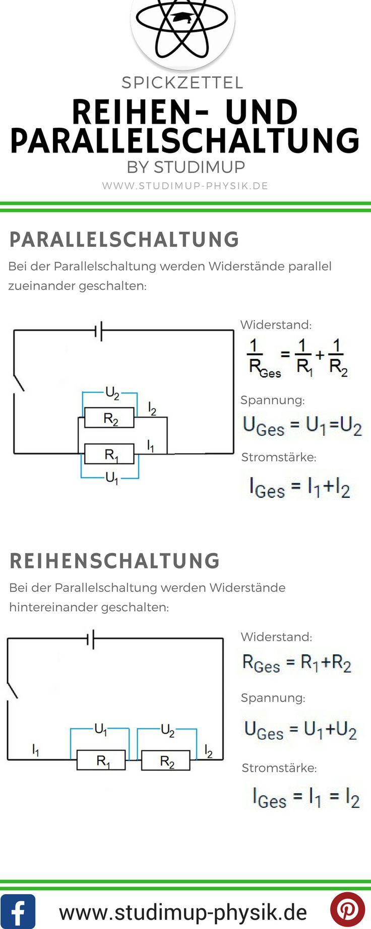 Rechnen in Stromkreisen, also Reihenschaltung und Parallelschaltung. Dabei die Formeln für Widerstand, Spannung und Stromstärke. Spickzettel für Physik in der Schule.