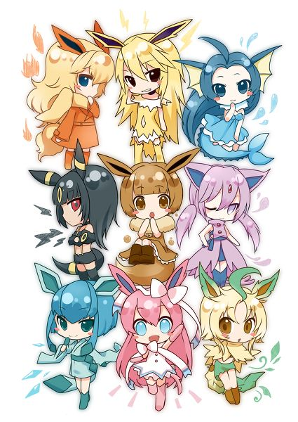 Pokemon Eeveelutions Chibi girls Gijinka but I have no idea what the pink one is...------> slyveon I don't know if the spelling is correct