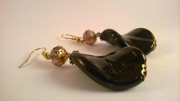 orecchini pendenti onice cristallo di madreperla su DaWanda.com