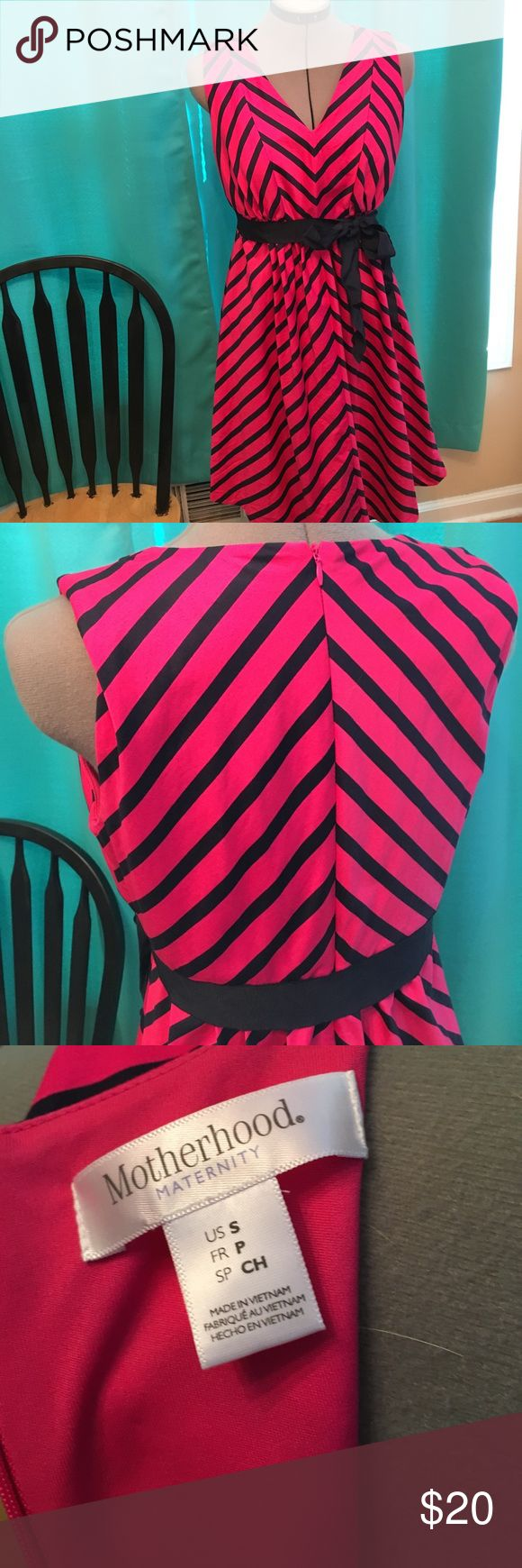 Hot pink striped maternity dress Adorable hot pink and navy striped maternity dress. Only worn once. Motherhood Maternity Dresses