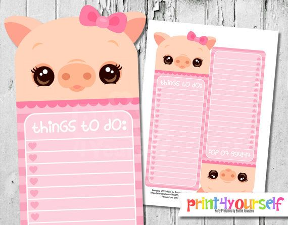 Printable Pig To Do List Instant Download by Print4Yourself