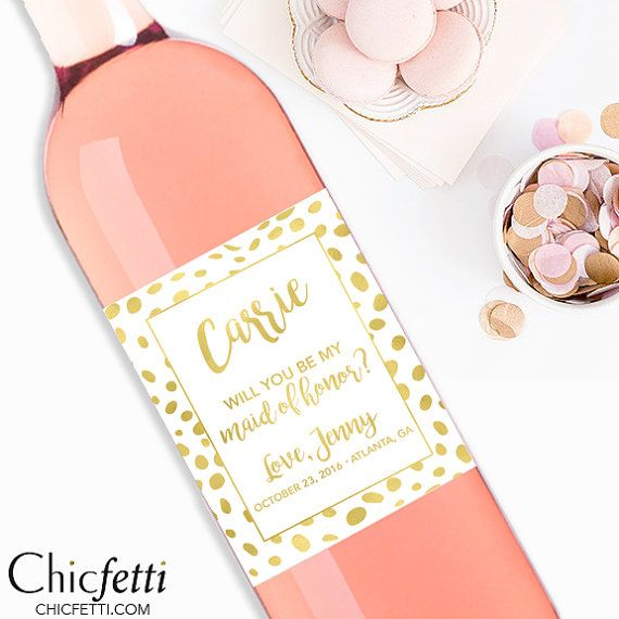 Will You Be My Bridesmaid Wine Bottle Labels Custom by Chicfetti