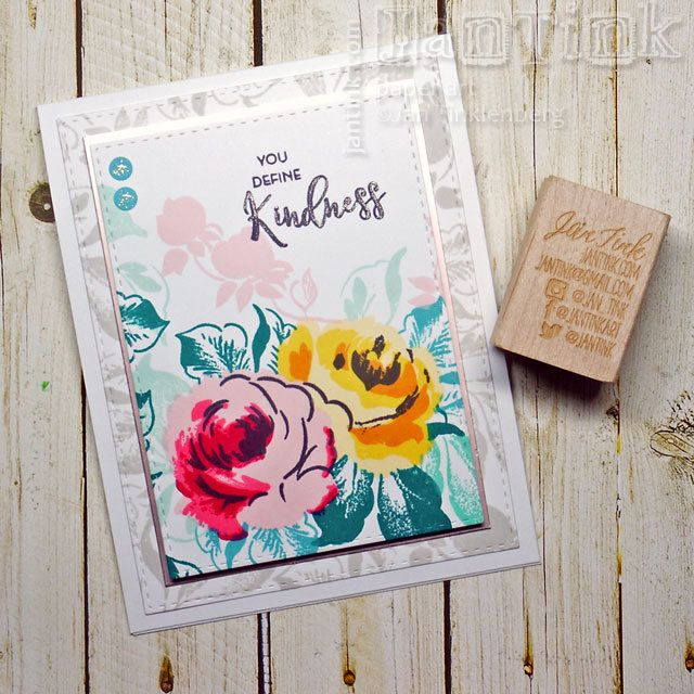 You Define Kindness Rose Floral Fancy Greeting Card Handmade in Pink Yellow Green for Friend Sister Mom Daughter Aunt Coworker by JanTink on Etsy