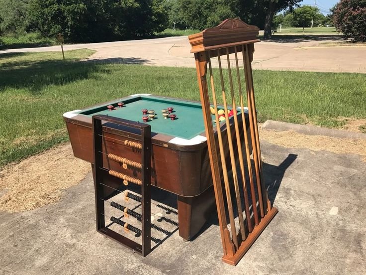 """For sale is a Valley Mfg, 55""""x 39""""x 34"""" Bar Model Pool Table. Coin operated, Rare. Coin operated ball drop. Sold as-is. Local pickup by appointment only. Includes balls, cue's with wall rack and Abbacus. 