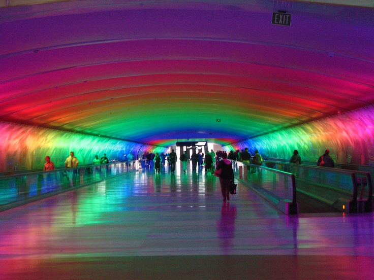 Detroit Airport Tunnel lightshow (This is such a long tunnel, we didn't make our connecting flight!)