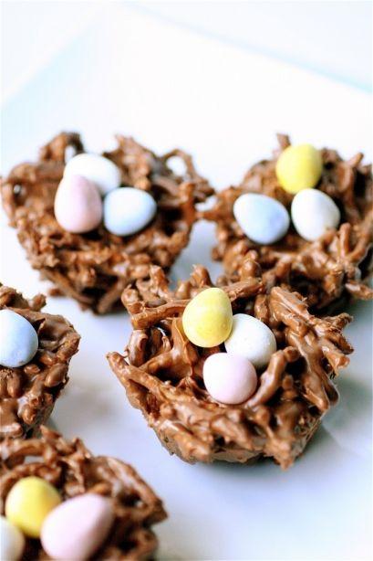 Chocolate Haystacks with Cadbury mini eggs