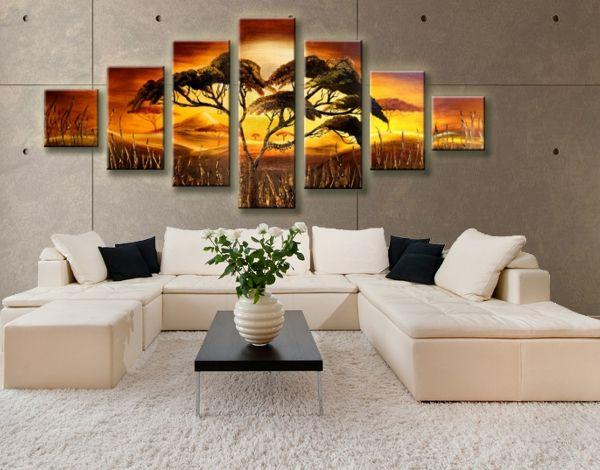 Tágas nappalik tökéletes dekorációja, többrészes vászonképekkel