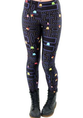 Plus Size Pacman Printed Elastic Waist Leggings