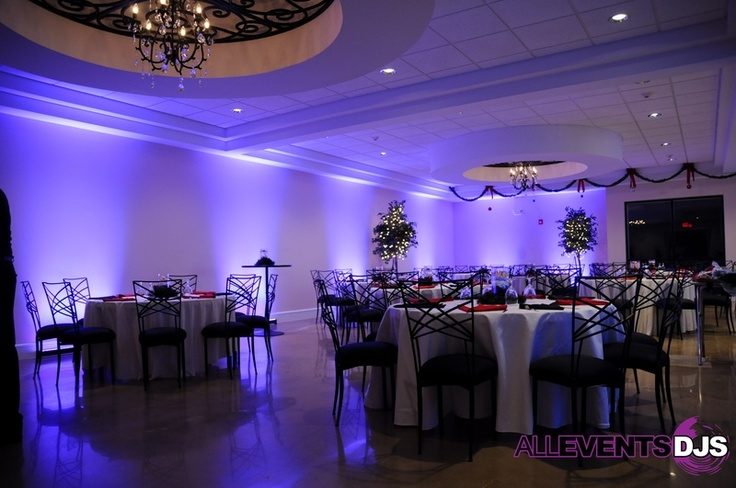 Beautiful LED Color Strip Up-Lighting in Purple. Our new lights can mix almost any color to customize it for your event! - All Events DJs of NC DJ & Lighting Company