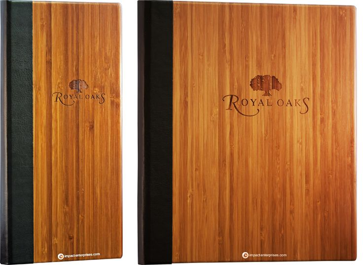 Bamboo Menu Covers, Royal Oaks, solid dark bamboo, rich brown faux leather quarterbind spine, laser-engraved artwork