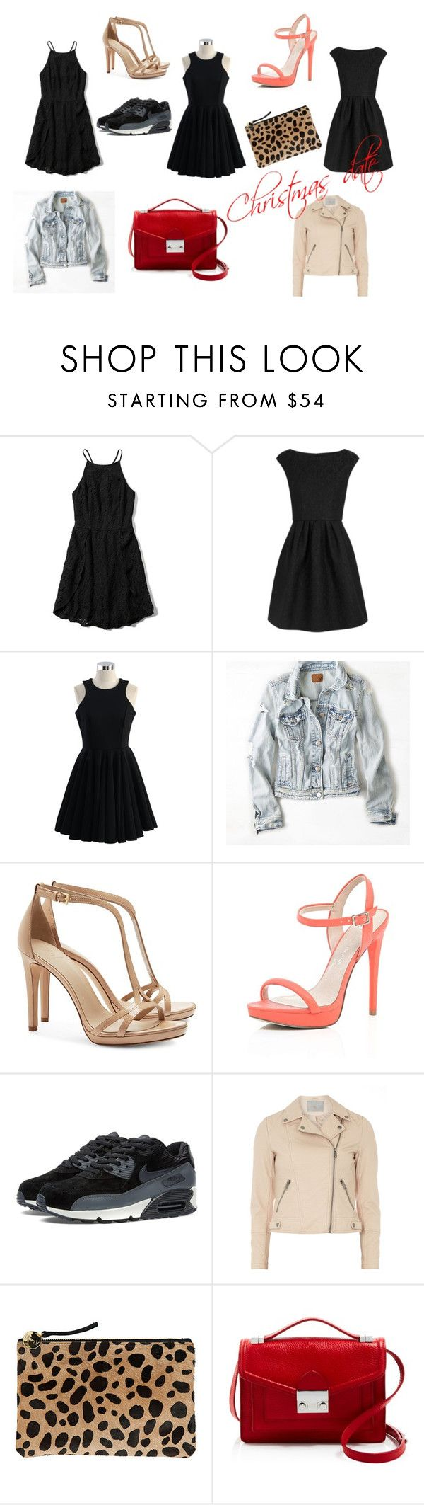 """Christmas Date"" by clarairawan on Polyvore featuring Abercrombie & Fitch, Boutique Moschino, Chicwish, American Eagle Outfitters, Tory Burch, River Island, Dorothy Perkins, Clare V. and Loeffler Randall"