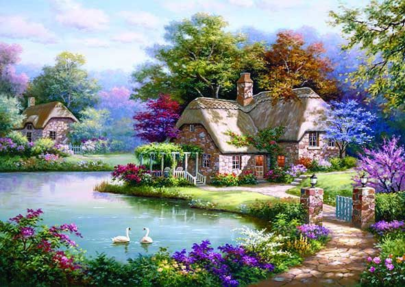 Swans and Cottage, Sung Kim (1500 piece puzzle) | £ 45.00