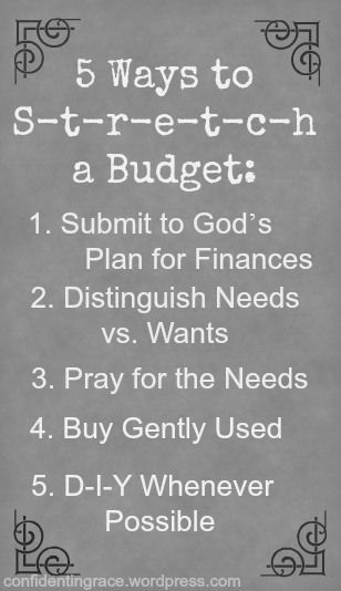 Top 5 Ways to stretch your budget. Budgeting for a family of six on one income. Includes both theory and practical ideas on how to save money in MANY areas of the budget. From a frugal mom of four. #budget #stewardship #family