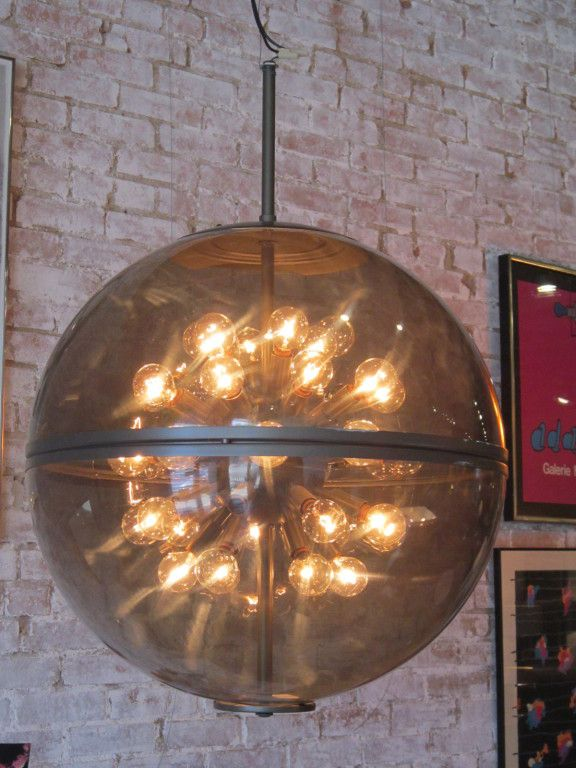 smoked acrylic sphere light fixture