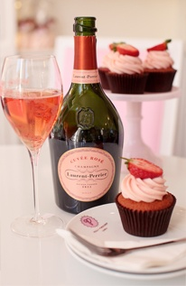VALENTINE'S CUPCAKE & CHAMPAGNE HAMPERS  Peggy Porschen Cakes have teamed up with Champagne Laurent Perrier and you can now add a beautiful bottle of Laurent-Perrier's Cuvée Rosé champagne to your cupcake delivery priced at £75. Contact us to pre-order your cupcakes and champagne for delivery on the 14th February in Central London.  Order@peggyporschen.com