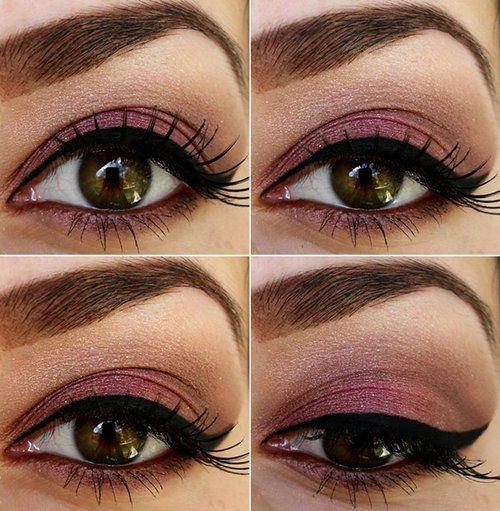 Great evening eye makeup for hazel eyes! Mauve, peachey-pink, champagne.