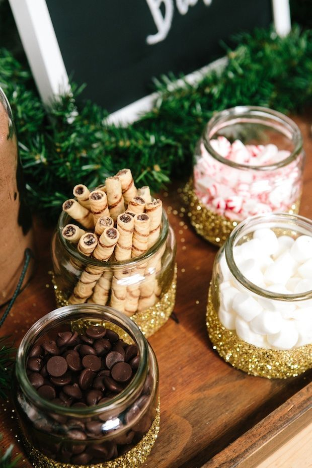 hot chocolate bar.. I love the glittered jars they used