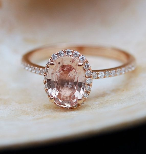 Ginger Peach Sapphire Ring, Peach Sapphire Engagement Ring,Oval Cut Engagement Ring, 14k Rose Gold ring by Eidelprecious