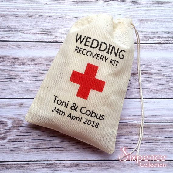 Personalised DIY Wedding Recovery favor bags 4x6 muslin bags.