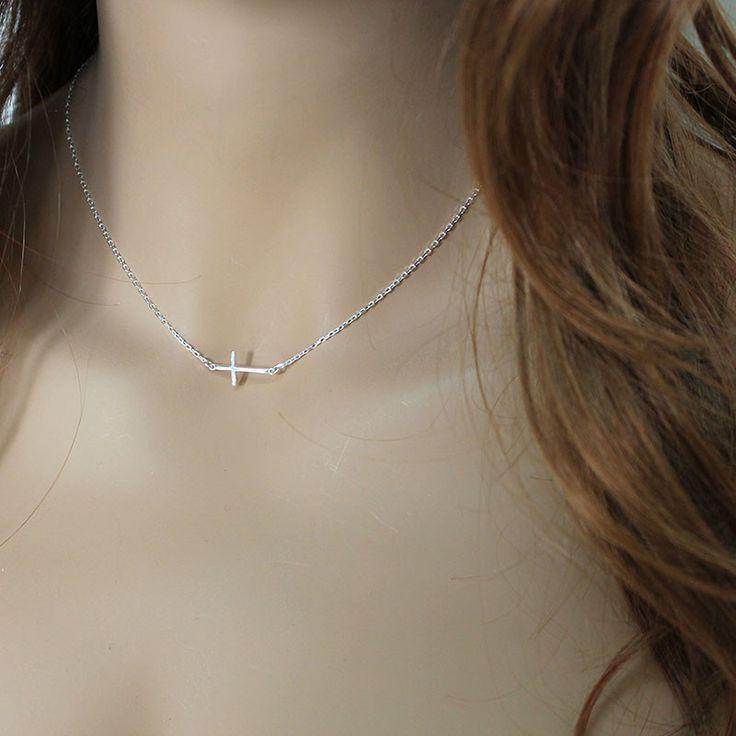 Dainty Sterling Silver Sideways Cross Necklace