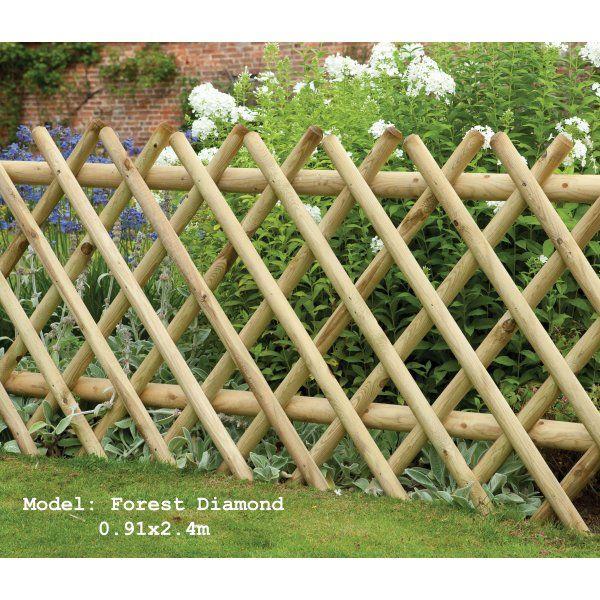 Larchlap Forest Diamond Fence Panel Expanding Trellis Style