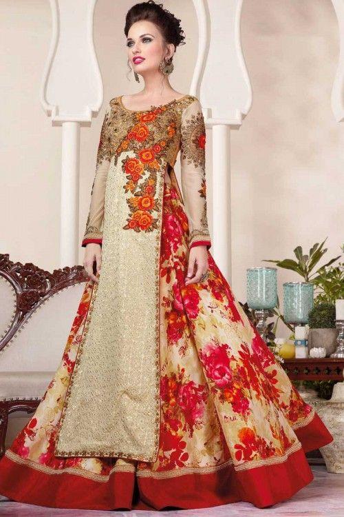Acheter en ligne lehenga, crème douce chaniya net choli-Andaaz Fashion dans la boutique. Andaaz mode apporte la dernière collection de vêtements ethniques de créateurs en FR