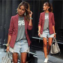Moda primavera outono camisas das senhoras das mulheres Plaid lapela Girl impresso Tops casacos Casual ternos de estilo V - pescoço fino blusas # LYQ076(China (Mainland))