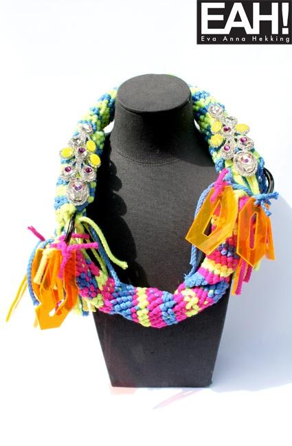 EAH! Neon Party Mix Necklace, braided ropes, plexiglas design shapes ...