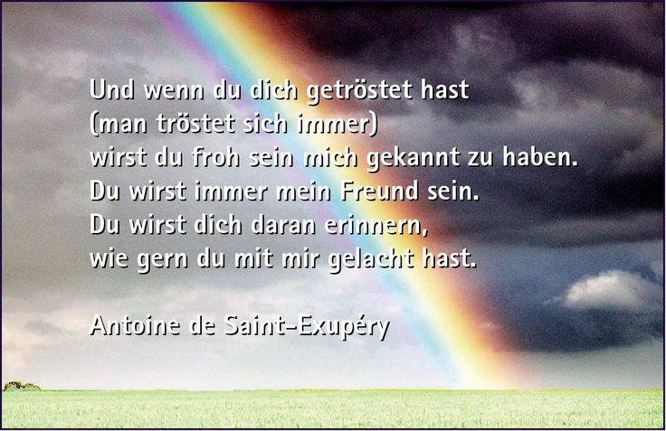 Und wenn du dich getröstet hast (man tröstet sich immer), wirst du froh sein mich gekannt zu haben. Du wirst immer mein Freund sein. Du wirst dich daran erinnern, wie gern du mit mir gelacht hast. - Antoine de Saint-Exupéry aus Der kleine Prinz