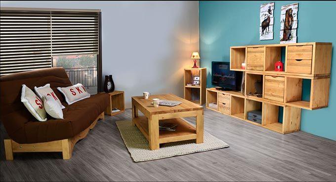 Le Cube De Rangement Est Multifonctionnel Dans Un Chalet Moderne Mobilier De Salon Meuble Deco Cube Rangement