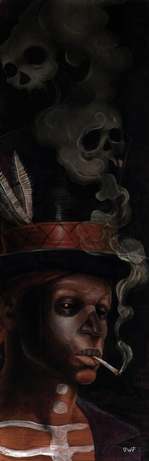 A face of Papa Ghede/Baron Samedi | the night wanderer's path