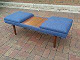 52 Design 59 inc Retro Coffee Table Ottoman Admiral Blue Linen with Walnut Teak Laminate Inlay