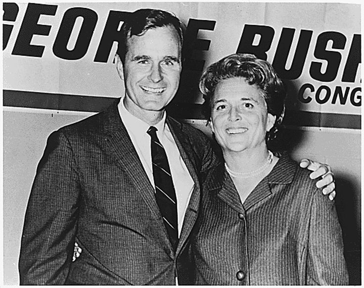 George and Barbara Bush in Houston, Texas on the night which George Bush was elected to Congress, ca. 11/1966