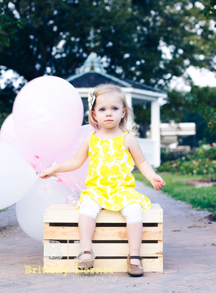 Cute Birthday shoot ideas Balloons Two year old Girl