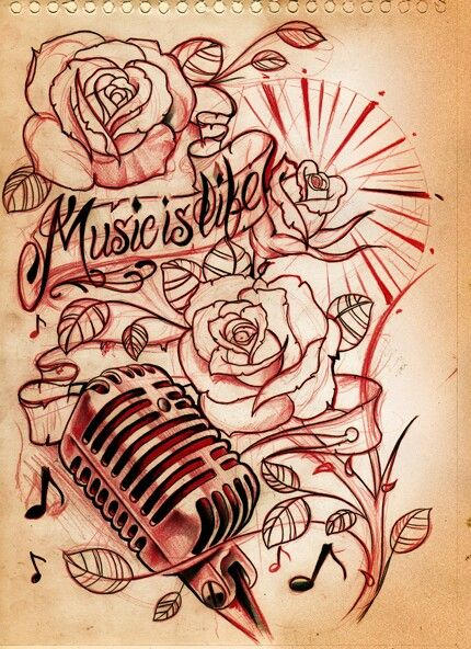 Colors: roses- rainbow leaves/stems- shades of green/brown mic- silver and black banner/words- beige/black
