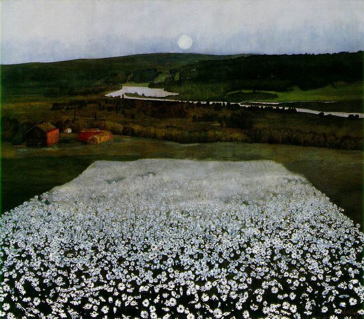 """""""Flower Meadow in the North"""" by Harald Sohlberg"""