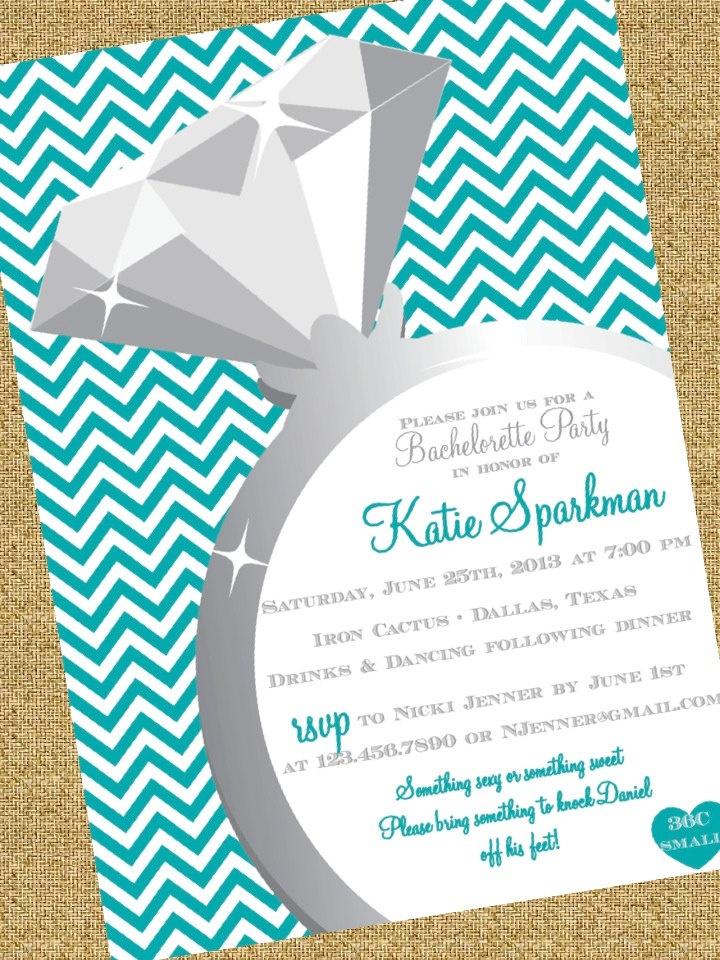 Chevron Ring Bachelorette Invitation.