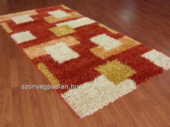 Shaggy 051 terra kockás szőnyeg 80x150 cm összekötő