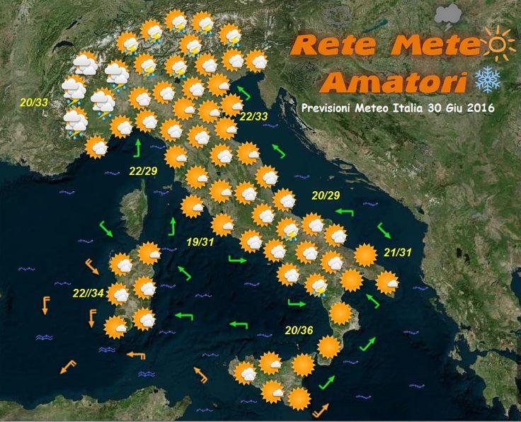 Previsioni Meteo Italia 30-6-2016