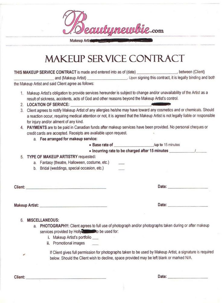 Contract MAKEUP ARTIST Pinterest Makeup, Business and Salons - production contract template