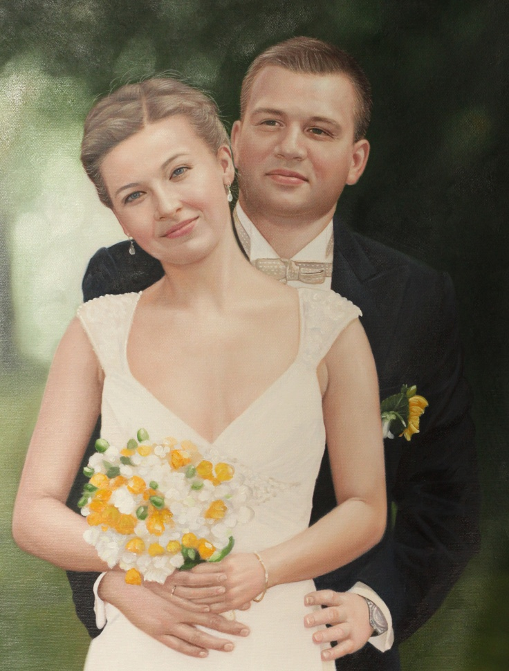 Wedding day, oil painting from $129