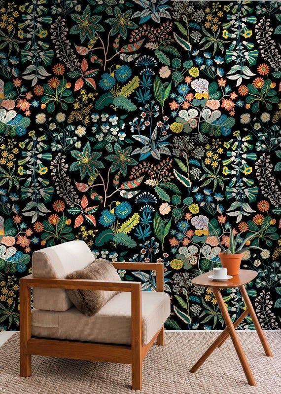 Tropical Jungle Wallpaper Removable Wallpaper Self Adhesive Etsy In 2020 Removable Wallpaper Jungle Wallpaper Tropical Wallpaper